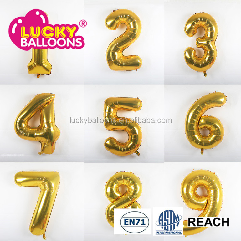 "Wholesales custom birthday Party balloons 16"" Numbers 0-9 foil balloons number"