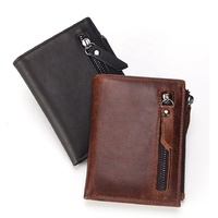 Latest fashion design crazy horse leather wallet Rfid block security credit card holder men genuine leather wallet