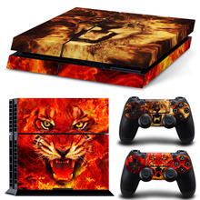 Anti Scratch Red Lion Pattern Vinyl Decal for PS4 Skin Stickers Console and 2 Controllers #TN-P4-1855