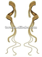 2012 fashion Hammer Long Multi Chain Swirl Drop Earrings
