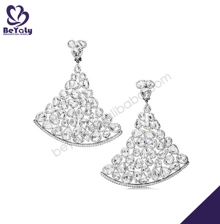 Amazing beauty sector shape cz pave set silver earring pads