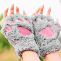 Lovely Women Bear Cat Claw Paw Mitten Plush Gloves Winter Half Finger Fingerless Gloves Mittens Ladies Half Cover Female Gloves