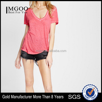 MGOO New Arrival Custom Longline Wholesale T shirt For Women Casual V Neck T-shirt