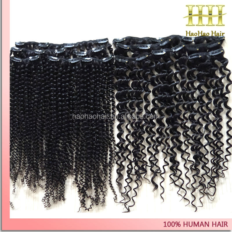 16 inch black curly human hair extensions spiral curl hair clip in