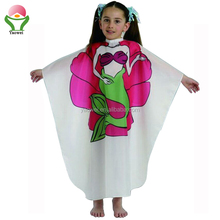 newest fashion promotional printing kids' hair cutting cape fabric hairdressing capes,children beautiful barber cape