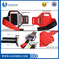 Adjustable Phone Armband Case Breathable Armband Case with earphone wire Holder