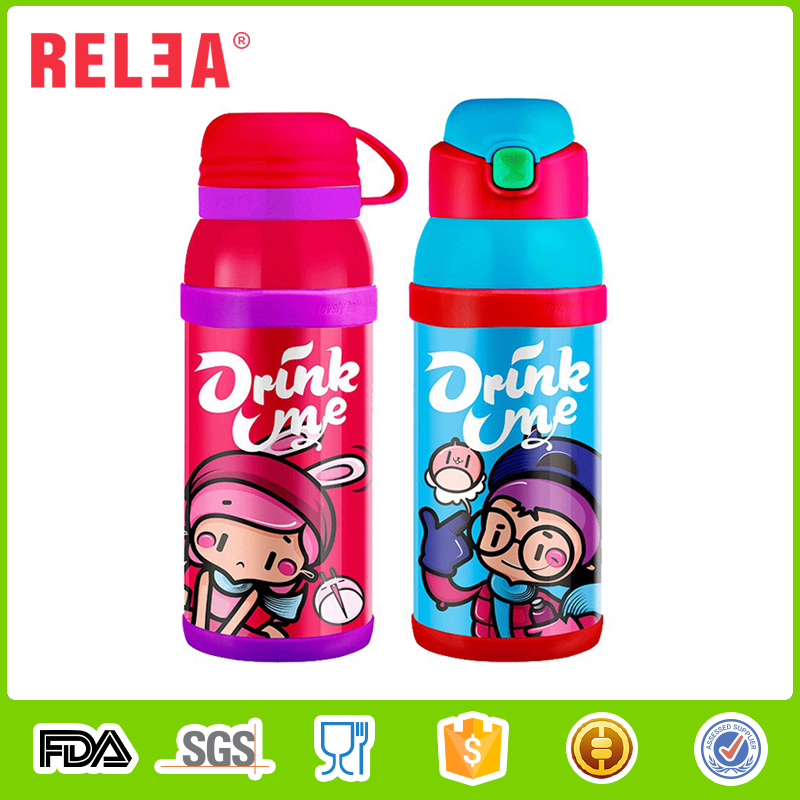 RELEA custom double walled stainless steel thermos vacuum flask sealed water bottle with two cap for kids