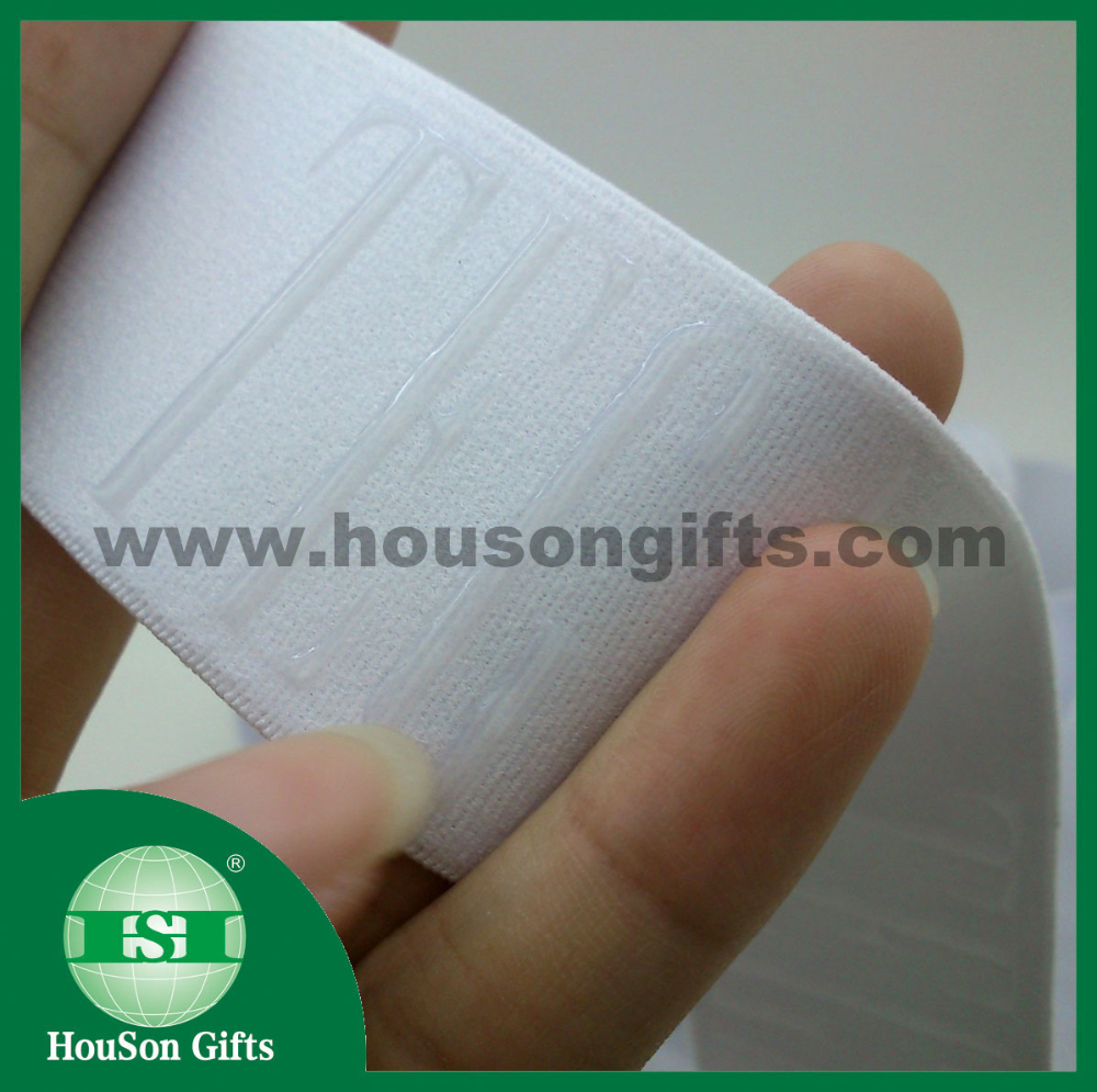 Custom elastic band transparent silicon underwear label on elastic band