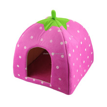 2016 Pink Strawberry Shape Warm small Kennel, Foldable Sponge Pet Dog Cat House Bed L