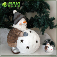 11.81''Christmas snowman statue in resin crafts for 2015 christmas decoration