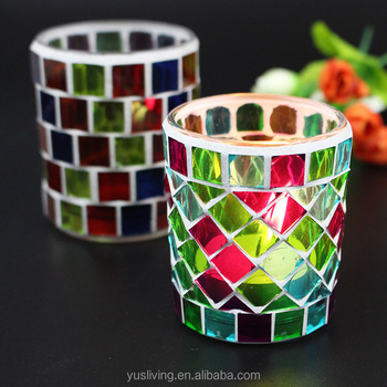 promotion mosaic glass Candle Holder factory direct price