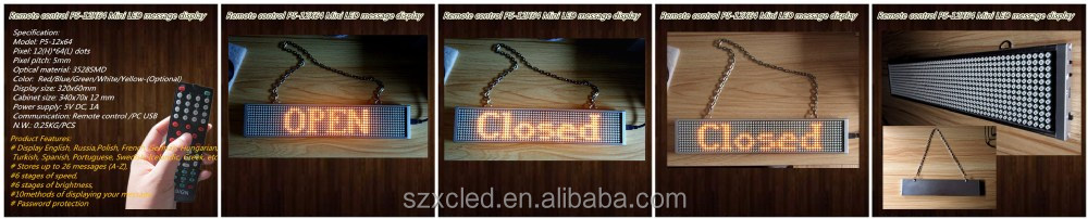 Single line moving text P5-12x64 Yellow (34x7X1.2CM) led message displays