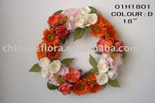 "18"" mixed color artificial silk wreath"