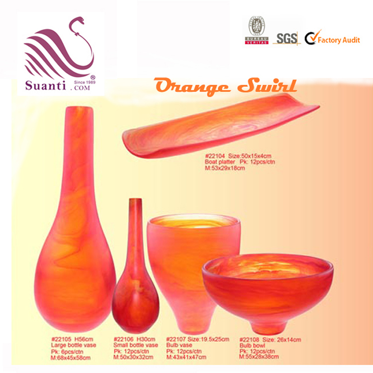 Wholesale Bottle Shape Orange Swirl Resin Flower Vase for Table Top Decoration