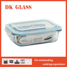 BPA free vacuum glass food container/ food storage/ lunch bento with easy move PP lid for office use microwave safe