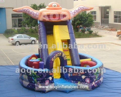 Children special hot-selling space war inflatable slide outdoor commercial use inflatable slide with inflatable climbing wall