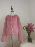 STABILE 2017 Pink winter new design milk faux fur coat