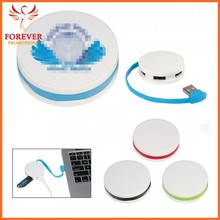 2015 Promotional 4 Port Round White USB 2.0 Man Hub