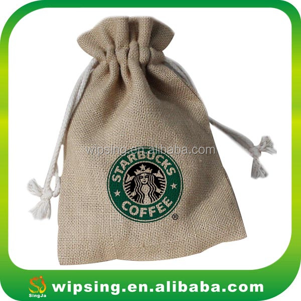 Fancy Burlap Jewelry Bags Drawstring Jewelry Pouch with Logo