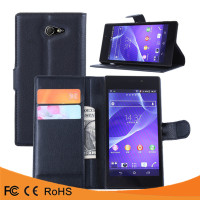 High quality leather flip PU case cover case For Sony Xperia M2 Aqua