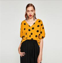 Fashion casual summer printed yellow chiffon lady blouse & top