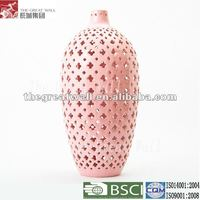 16.75 inch Chinese hollowed pink ceramic large floor vases