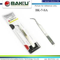 BAKU switzerland curved tips stainless steel tweezers for machine repair tools (BK 7-SA )