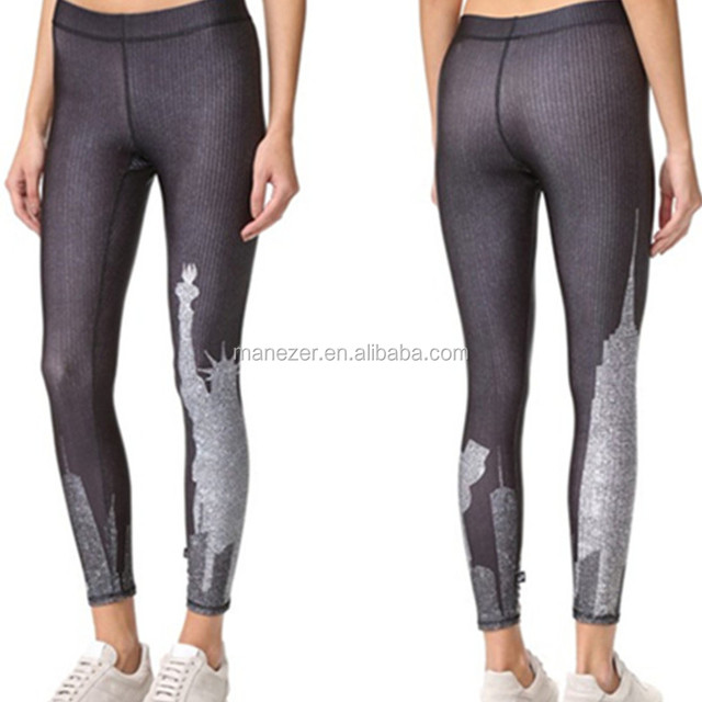 Wholesale ladies patterned exercise leggings workout tights for women