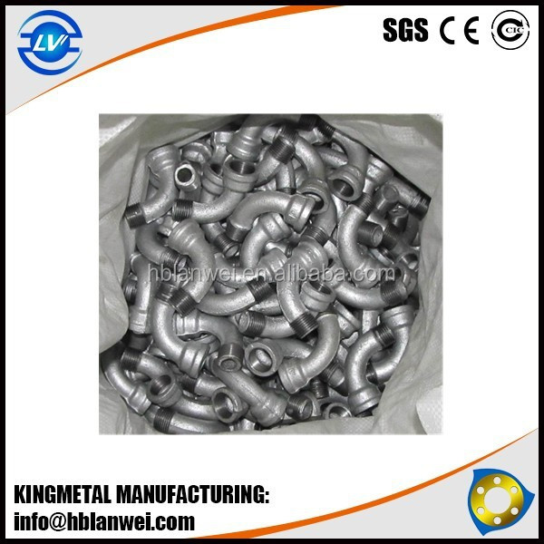 BRAND HOT DIPPED GALVANIZED MALLEABLE IRON PIPE FITTINGS PLAIN WITH BSS THREADS.