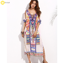 Bohemia Swimwear Boho Casual Printed Maxi Ethnic Kaftan Long Dress India Beach Dress