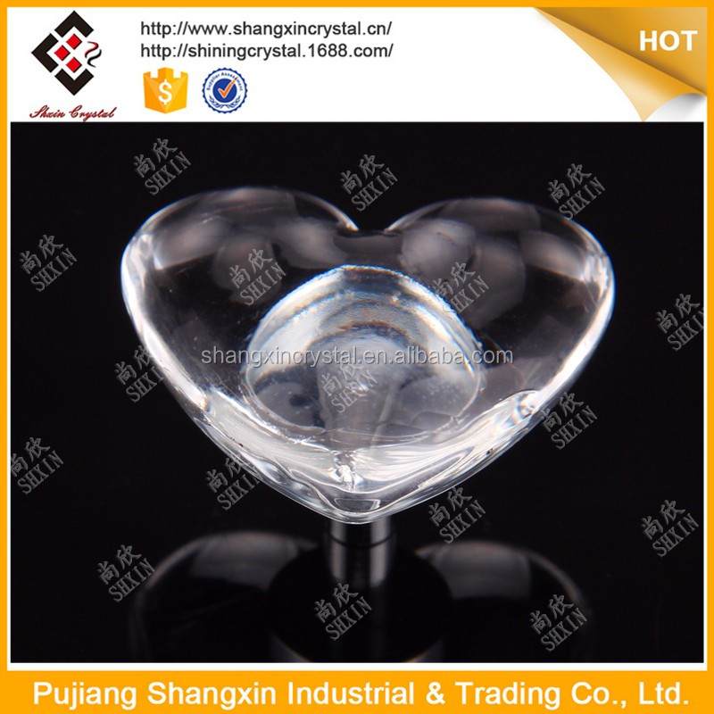 Hot sale Crystal transparent heart bed handle with screw