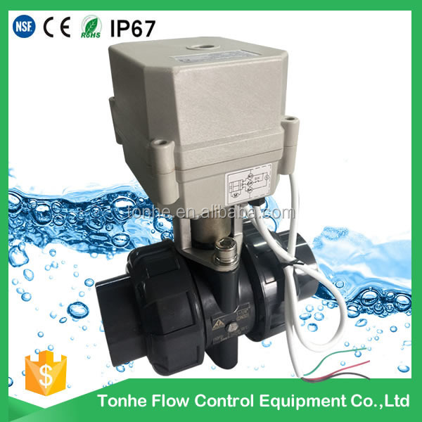 "CE IP67 2-way 3/4"" inch electric actuator motorized pvc ball valve"