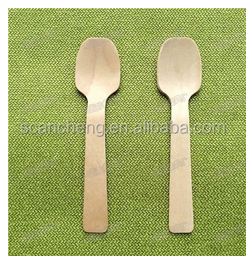 disposable wooden biodegradable ice cream spoon