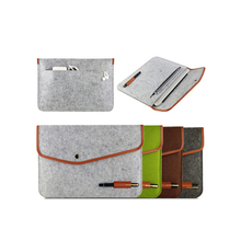 Amazon popular envelope computer cover pouch soft felt laptop carrying sleeve with leather