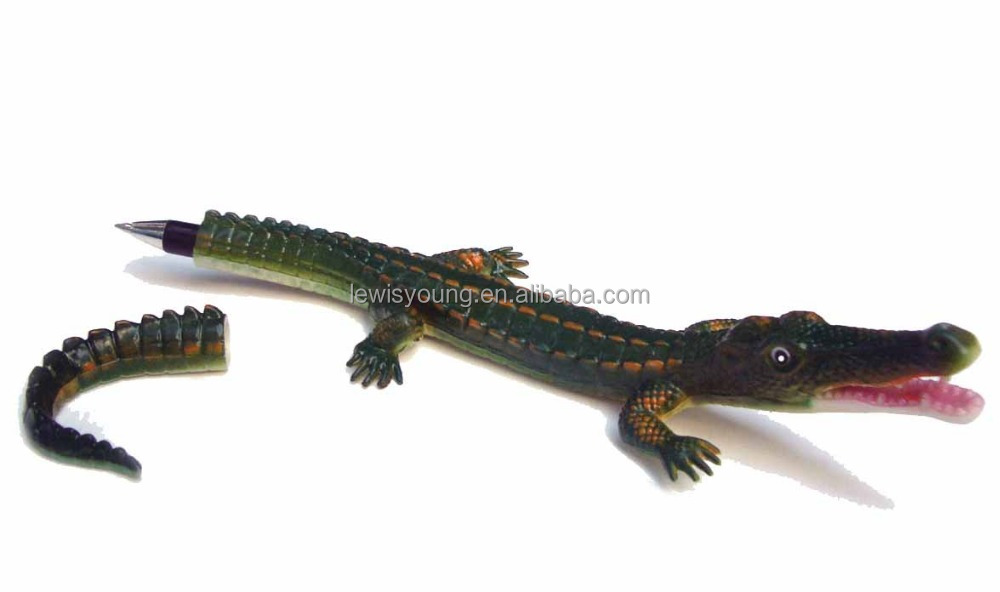 novelty gift for party crocodile shape ballpoint pen made of polyethylene 3 colour new 2016 high quality