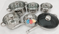Kitchen Wares Cooking Pot Set With Clear Glass Lid