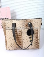 2014 New Designer In Stock Wholesale Ostrich Pu leather Handbag Wholesale Price Tote Bag For Ladies Women Girl