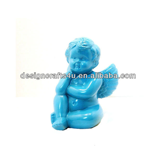 Blue small porcelain angel figurines