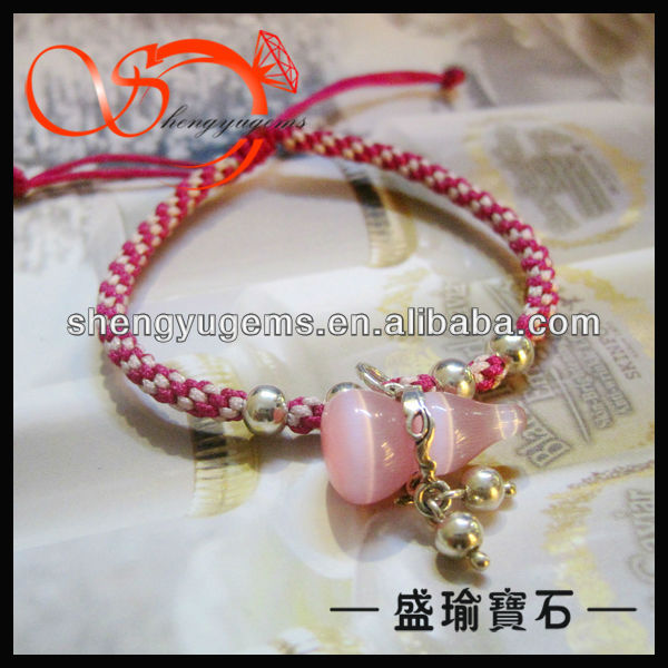 shengyu MC design 925 sterling silver ball bracelet with cat's eye calabash stone