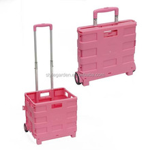 New Plastic Light Weight Shopping Trolley on Wheels Folding Boot Cart Folding Box Trolley