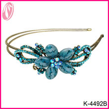 New arrival blue crystal rhinestone flower thin metal headband