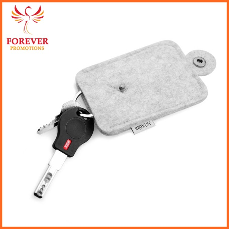 New Design Felt Key Bag Promotional Gifts Car Key Case Custom Logo Key Holder Manufactory