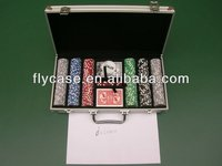 Professional poker chip set in rectangle aluminum case