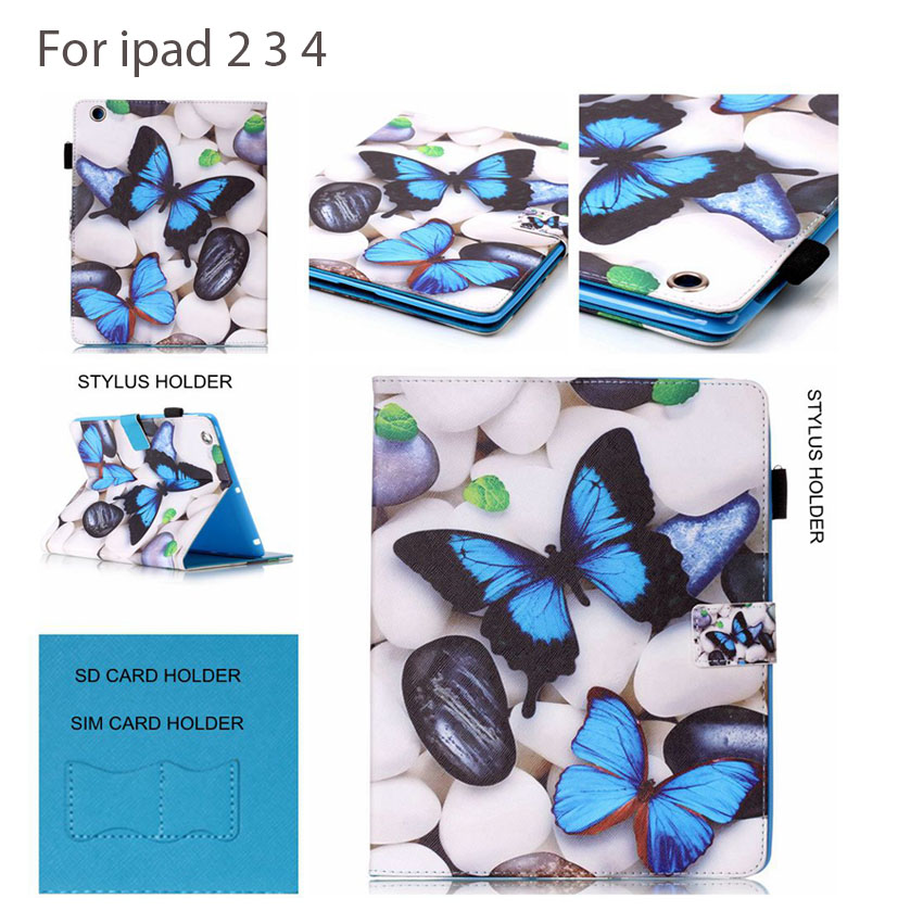 Six Patterns Butterfly Flip Protective Leather Case For IPad 2 3 4 cover With Card Holder