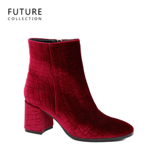 2017 personality fashion style velvet boots thick middle high heel shoes with comfortable woman