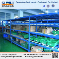 China Supplier Gravity Flow Storage Warehouse Mobile Carton Goods Shelf