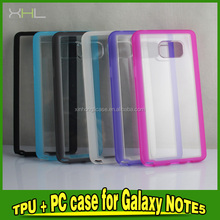 2 in 1 transparent bottom-color plastic mobile phone shell for Note 5 Case