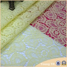 New york wholesale yellow swiss cotton guipure cutwork lace fabric for lady garment