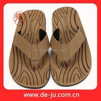 Wood Grain Sole Wide Strap Latest Design Mens Sandal