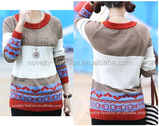 2017 new fashion Ladies women kintting colorful sweater ladies jacquard sweater